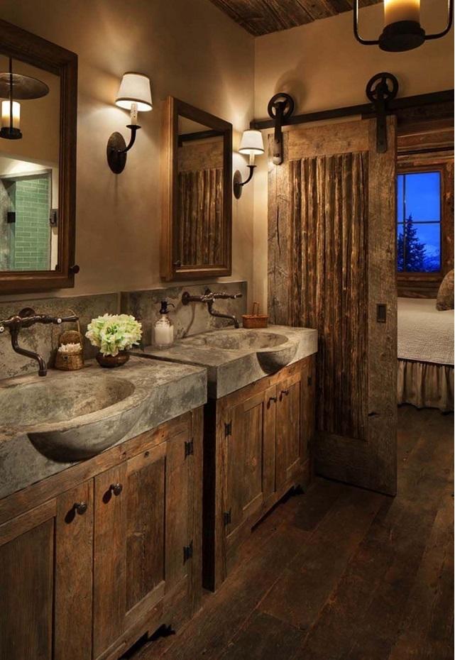 Decorar baño rústico muebles madera