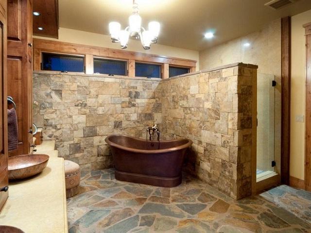 Decorar baño rústico suelo de piedra