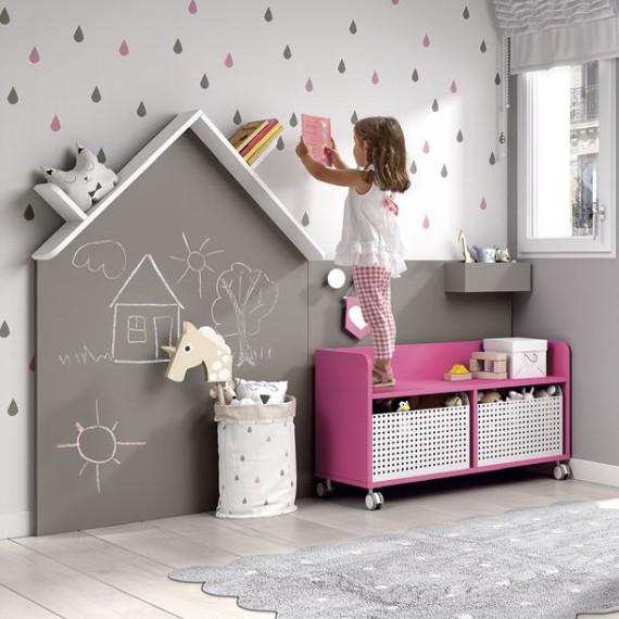 Pizarra casita estantería Montessori