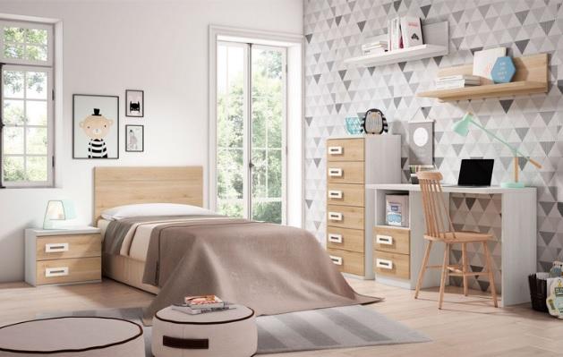 Dormitorio juvenil cama con mesita