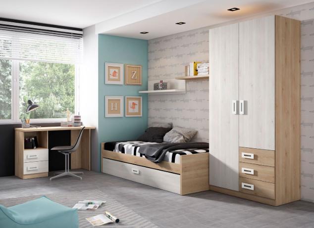 Dormitorio juvenil cama nido, armario y escritorio
