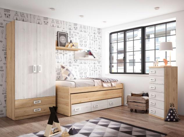 Dormitorio juvenil cama nido, armario y sinfonier