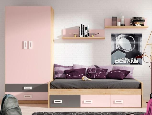 Dormitorio juvenil cama nido y armario