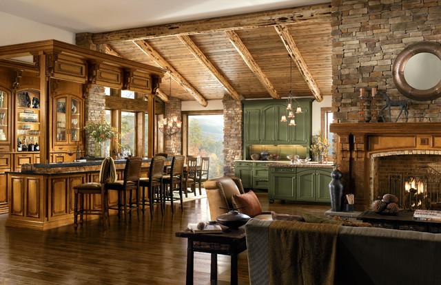Decoración clásica casa de madera sala en cocina