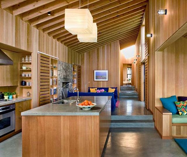 Decoración moderna casa de madera, cocina