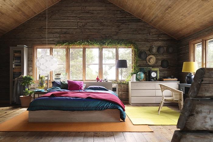 Decoración moderna casa de madera en dormitorio