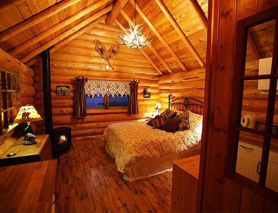 Decoración rústica casa de madera sala en dormitorio