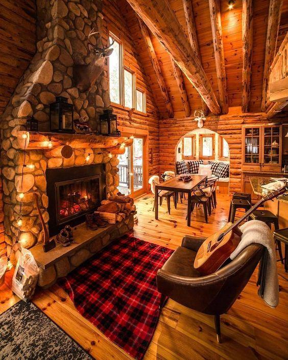 Decoración rústica casa de madera sala en sala de estar