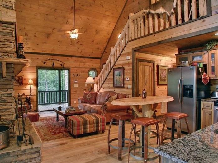 Decoración rústica casa de madera salón y cocina