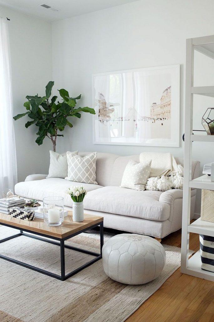 Ideas decorar sala de estar pequeña, sofá pequeño