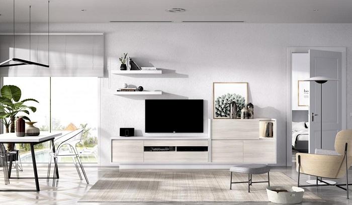 Comedor moderno con muebles de madera clara