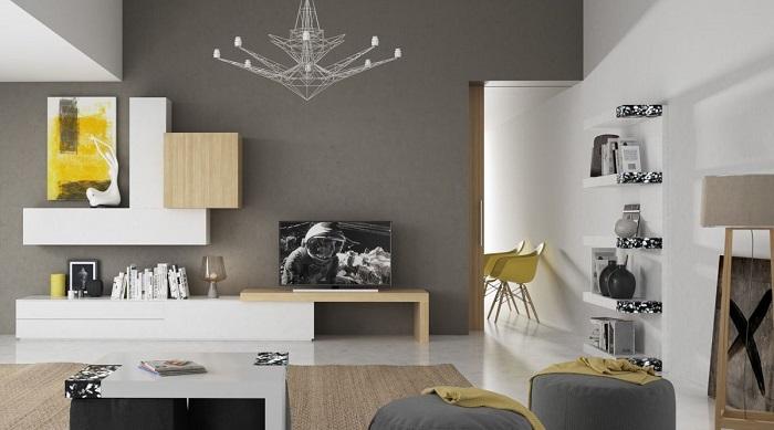 Comedor moderno con pared gris y muebles blanco y madera clara