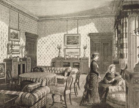 Dibujo reina Victoria en Balmoral con sofá Chester