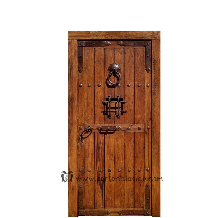 Puerta rústica de madera de roble