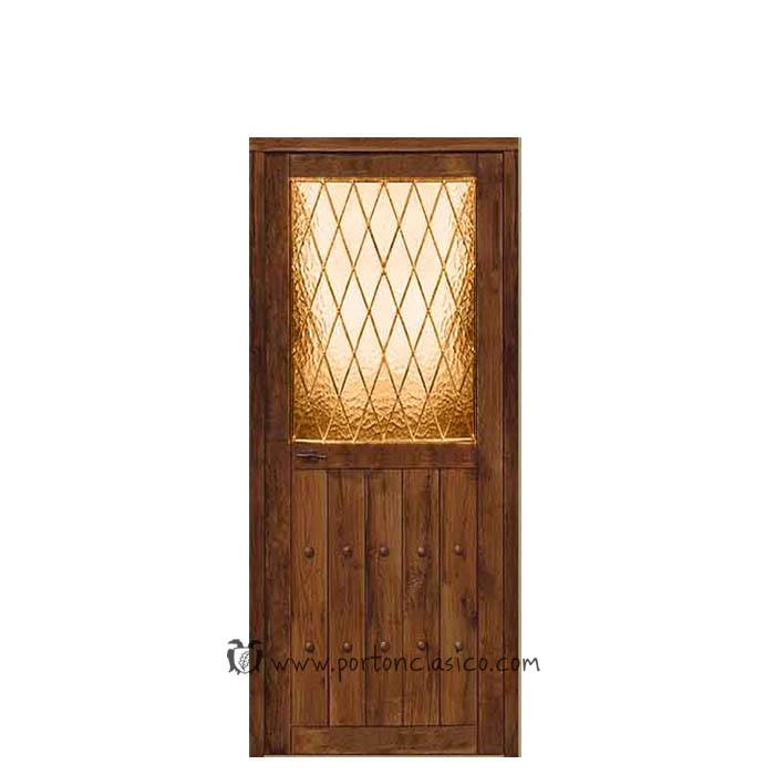 Puerta rústica de interior con cristal esmerilado