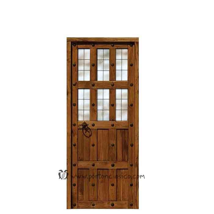 Puerta rústica de interior con cristal