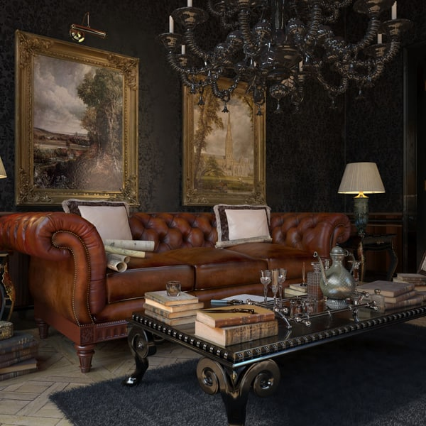 Sofá Chester original en un ambiente clásico