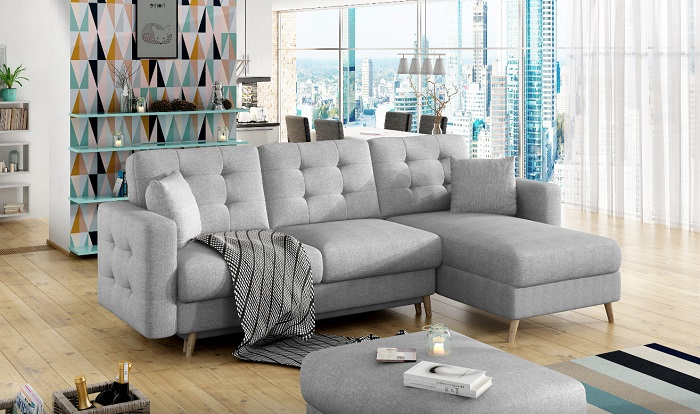 Sofá rinconera con chaise longue gris claro