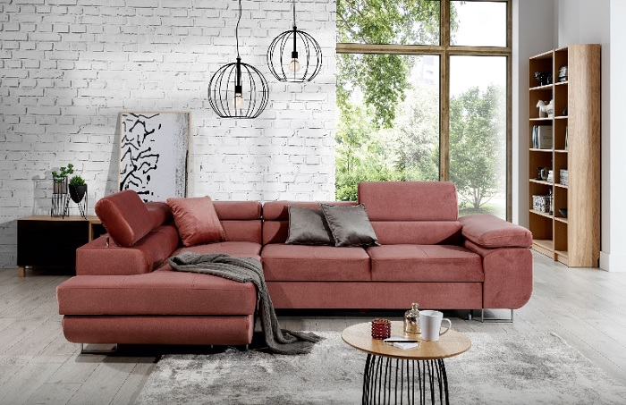 Sofá esquinero rosa