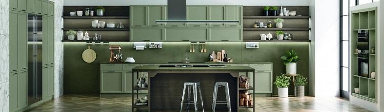 Cocina clásica de color verde