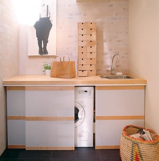 Ocultar lavadora con armario en la cocina 2