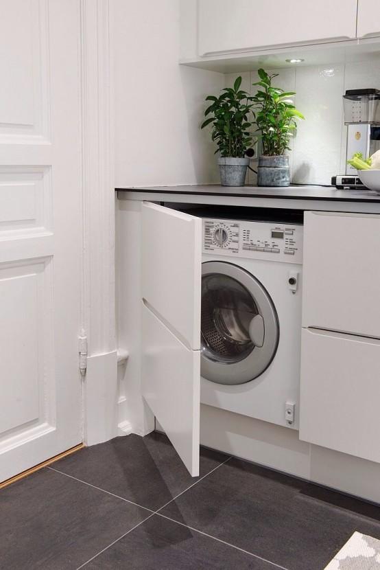 Ocultar lavadora con armario en la cocina