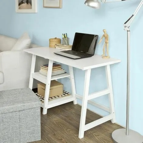 Mesa de escritorio blanca de caballete