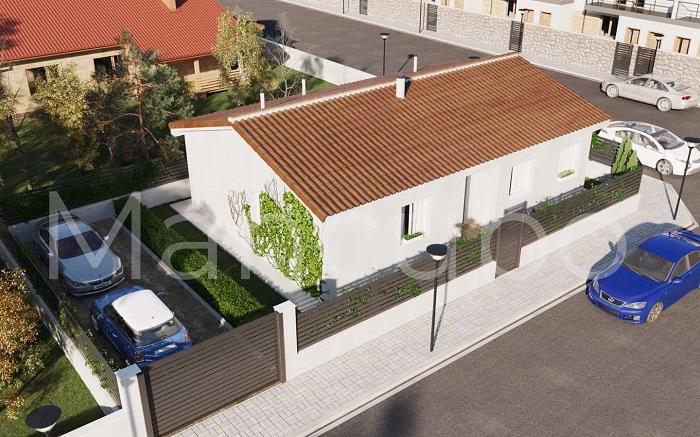 Casa prefabricada clásica blanca y teja