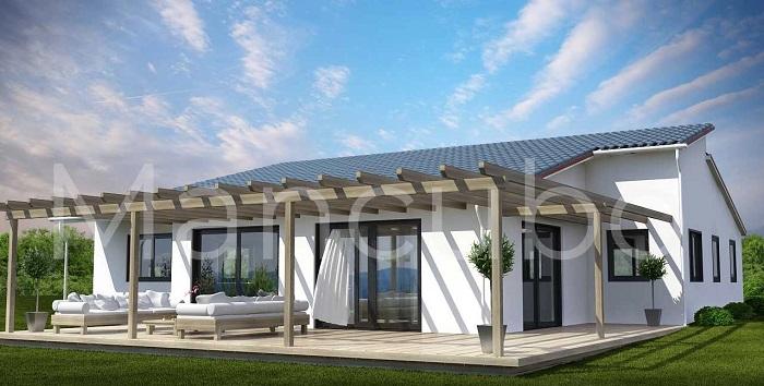 Casa prefabricada mediterránea con porche grande