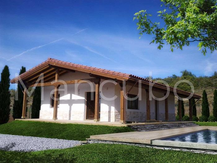 Casa prefabricada madera y piedra