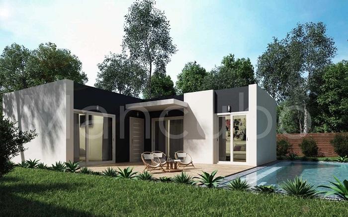 Casa prefabricada moderna blanca y gris