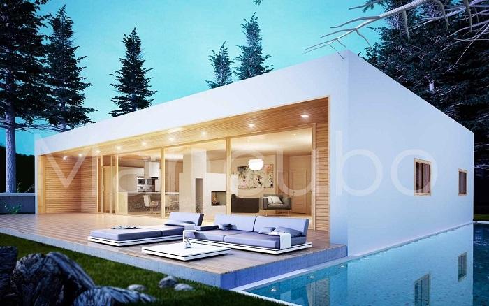 Casa prefabricada moderna blanca y madera