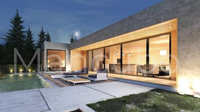 Casa prefabricada moderna gris piedra y madera