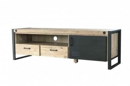 Mueble de tv madera y negro