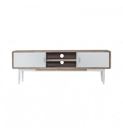 Mueble de tv acacia y blanco