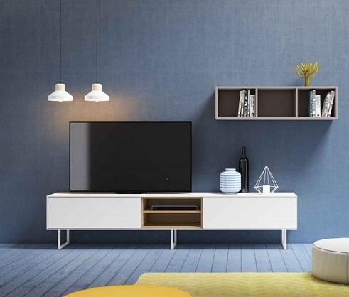 Mueble de tv roble blanco de diseño