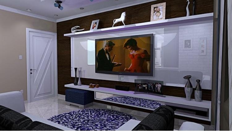 Mueble de salón con luces led